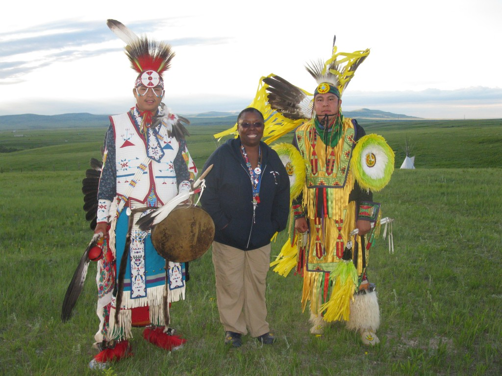 Here I am with two performers from The Black Foot Nation